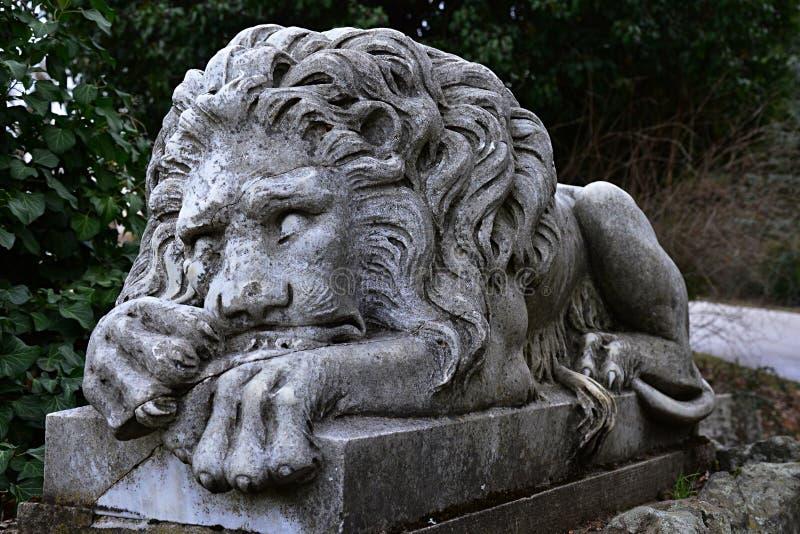 Sova stenlejonstatyn som förmyndare i botanisk trädgård royaltyfri fotografi