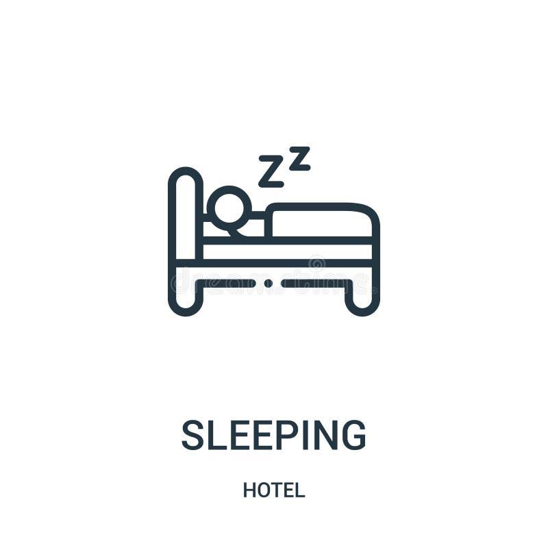 sova symbolsvektorn från hotellsamling Tunn linje som sover illustrationen för översiktssymbolsvektor stock illustrationer