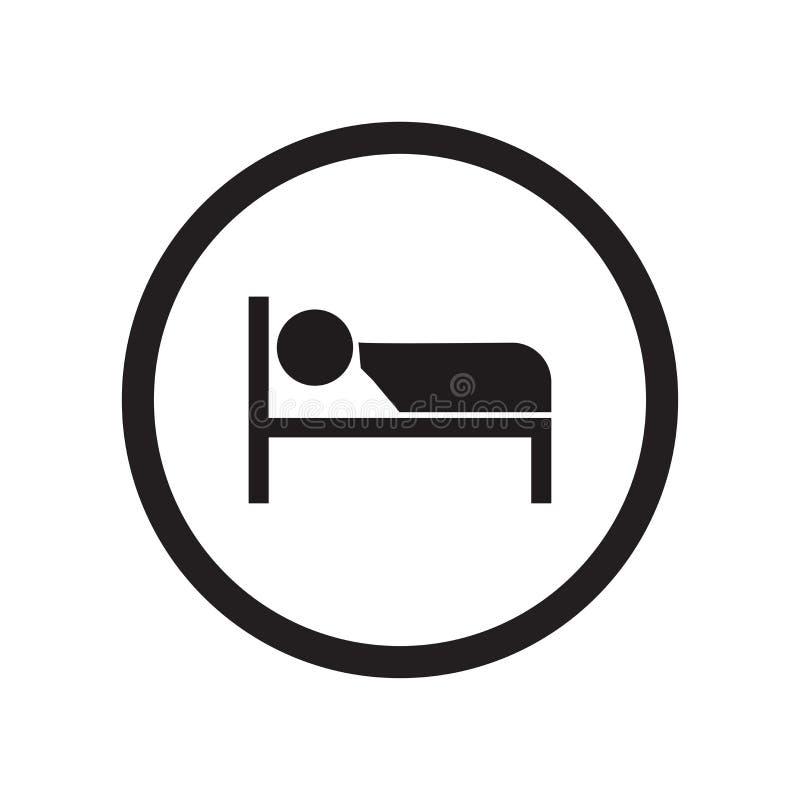 Sova tecknet och symbolet för signalsymbolsvektor som isoleras på vit bakgrund som sover signallogobegrepp stock illustrationer