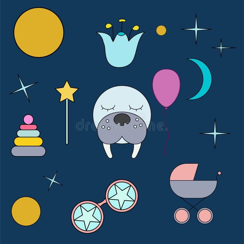 Sova valross Framsida isolerat djur för garnering Teckning för barn` s Delikata färger royaltyfri illustrationer