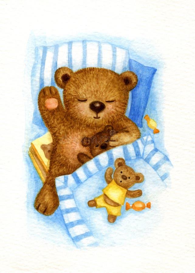 sova white för bakgrundsbjörn stock illustrationer