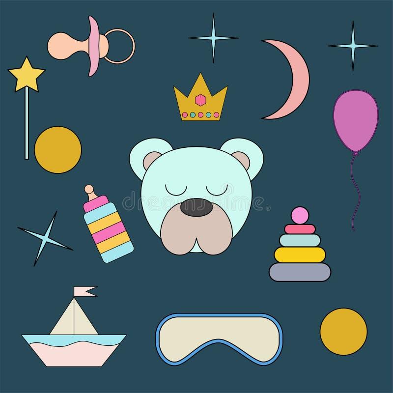 sova white för bakgrundsbjörn Framsida isolerat djur för garnering Teckning för barn` s Delikata färger vektor illustrationer