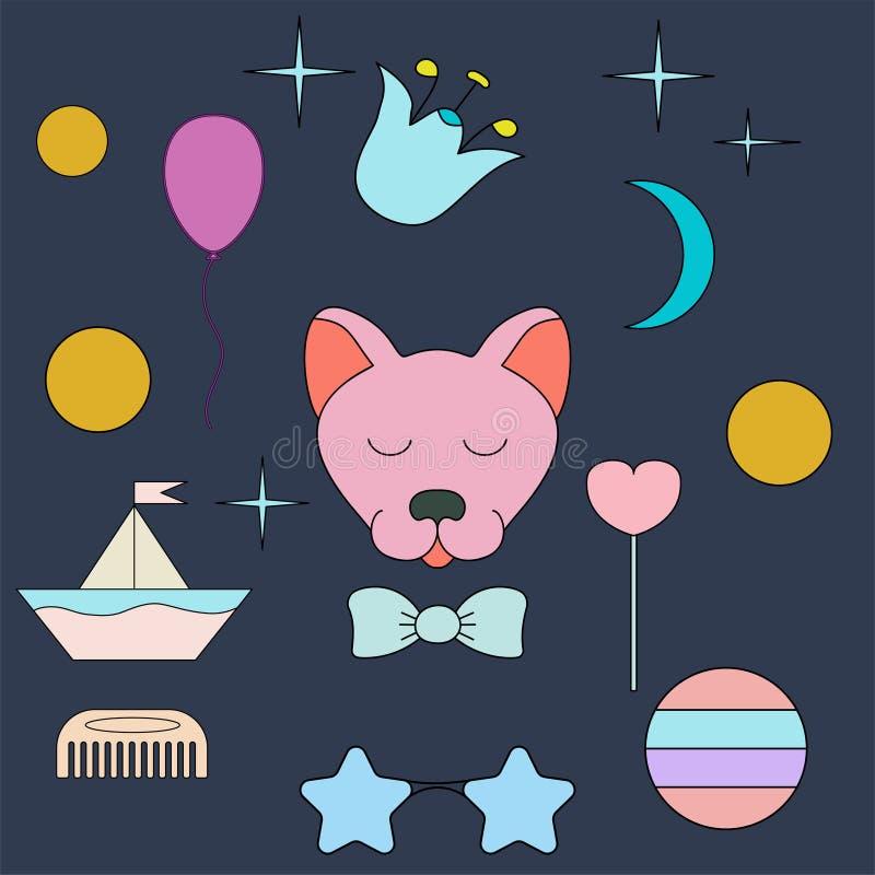sova wolf Framsida isolerat djur för garnering Teckning för barn` s Delikata färger royaltyfri illustrationer