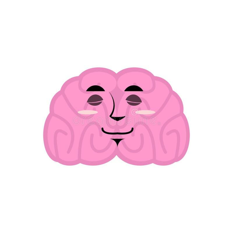 Sovande sinnesrörelse för hjärna Emoji för mänskliga hjärnor sova Isolerad mening stock illustrationer