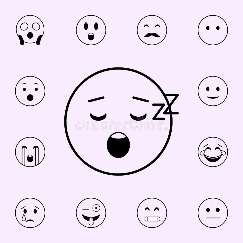 sovande symbol Universell upps?ttning f?r Emoji symboler f?r reng?ringsduk och mobil royaltyfri illustrationer