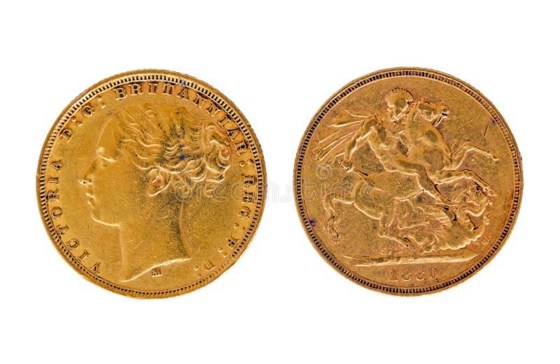 sovereign 1880 золота стоковое изображение