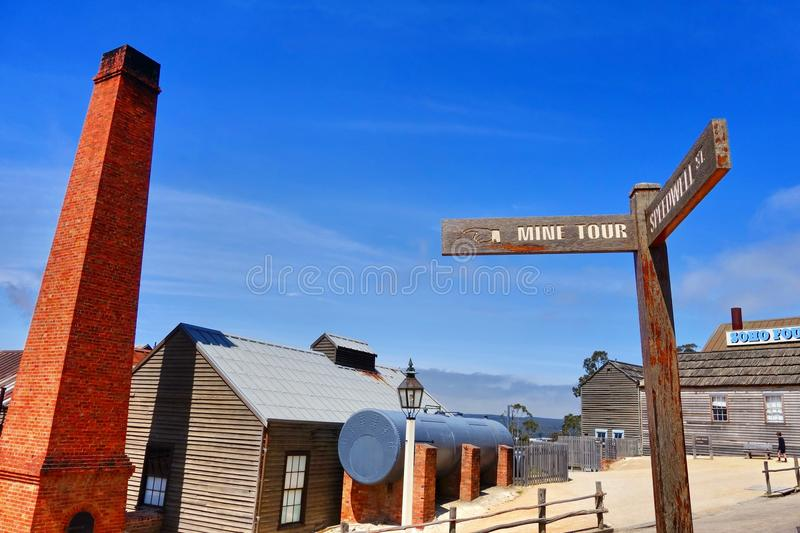 Sovereign Hill in Ballarat, Australia. Sovereign Hill is an open air museum recreating the atmosphere of a gold rush town in Ballarat, Australia royalty free stock image
