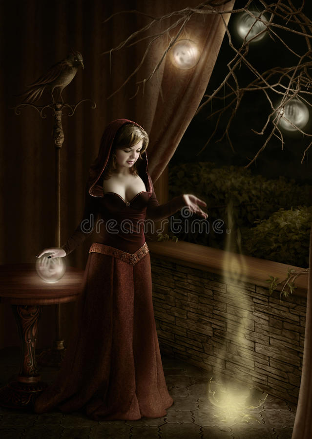 Sovereign of souls. Young woman in a dark room, dropping and breaking up a magic ball vector illustration