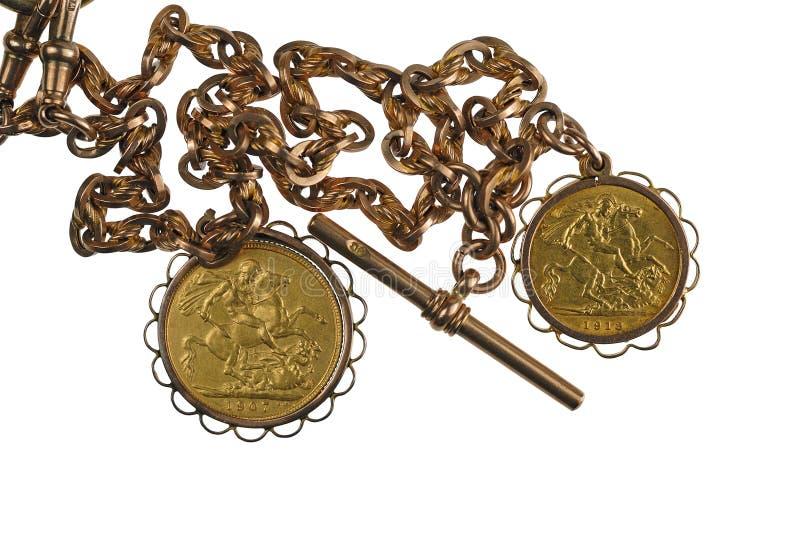 Sovereigns e catena dell'oro immagine stock libera da diritti