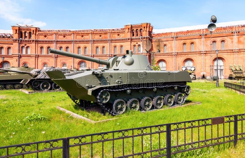 Soviet amphibious self-propelled 120 mm mortar 2S9 NONA-S. ST.PETERSBURG, RUSSIA - AUGUST 8, 2015: Soviet amphibious self-propelled 120 mm mortar 2S9 NONA-S in stock photo