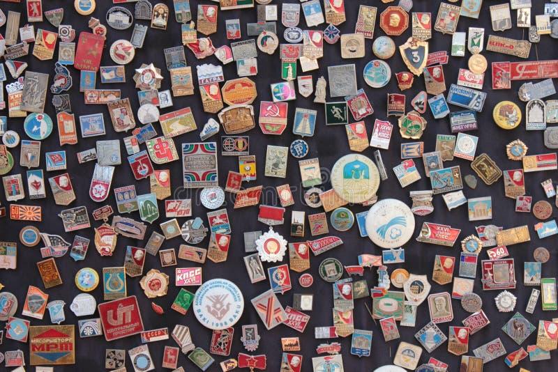 Soviet badges royalty free stock photo