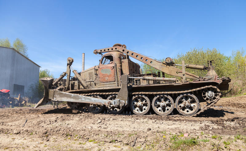 Soviet BAT - M military bulldozer stands on track on a motortechnic festival. GRIMMEN/ GERMANY - MAY 1: soviet BAT - M military bulldozer stands on track on a royalty free stock images