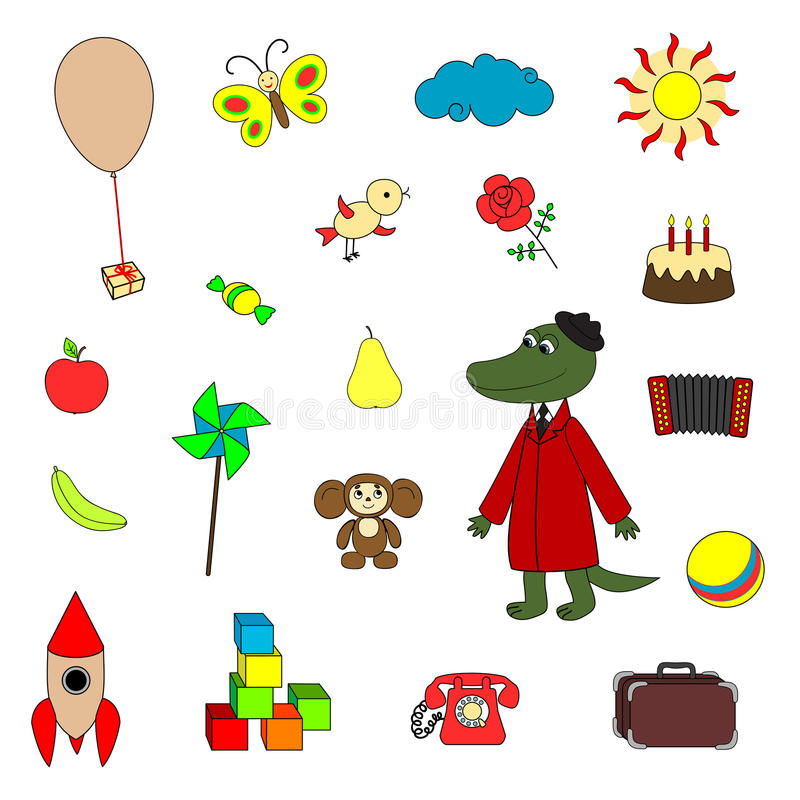 Download Soviet Cartoon Characters And Their Toys Stock Vector - Image: 30255472