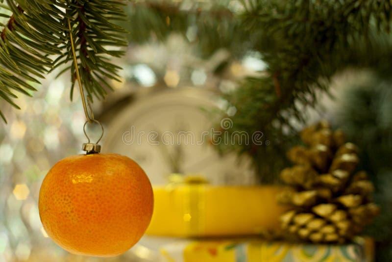 Soviet Christmas retro toy mandarin decorations royalty free stock photo