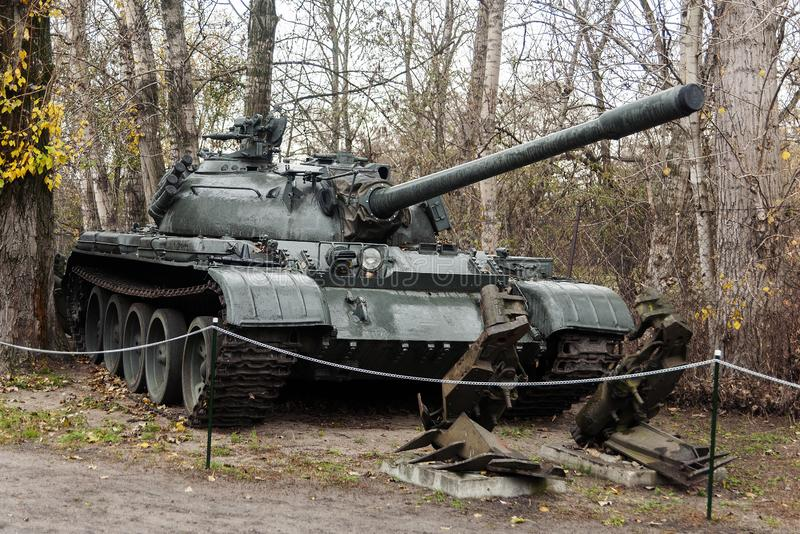 Soviet combat tank T55. Soviet tank T55 in the museum of Warsaw in the autumn royalty free stock photo