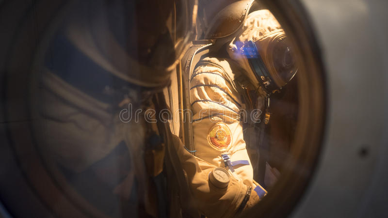 Soviet Cosmonauts. Inside the Soyuz capsule. These are replicas on display at the Syndey Powerhouse museum located in Sydney in Australia royalty free stock photography