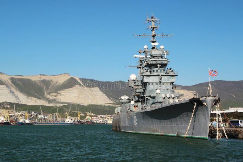 Soviet cruiser Mikhail Kutuzov, Novorossiysk, Russia. Mikhail Kutuzov was a light cruiser, currently opened to the public as a museum ship in Novorossiysk stock photography