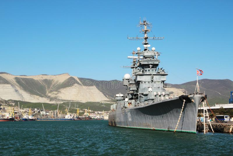 Soviet cruiser Mikhail Kutuzov, Novorossiysk, Russia. Mikhail Kutuzov was a light cruiser, currently opened to the public as a museum ship in Novorossiysk stock photo