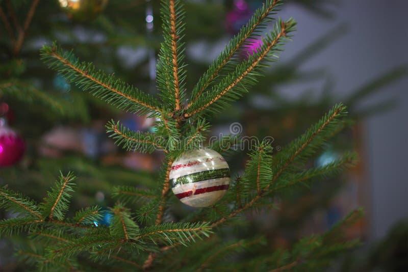 Soviet decorations hang on Christmas tree royalty free stock photos