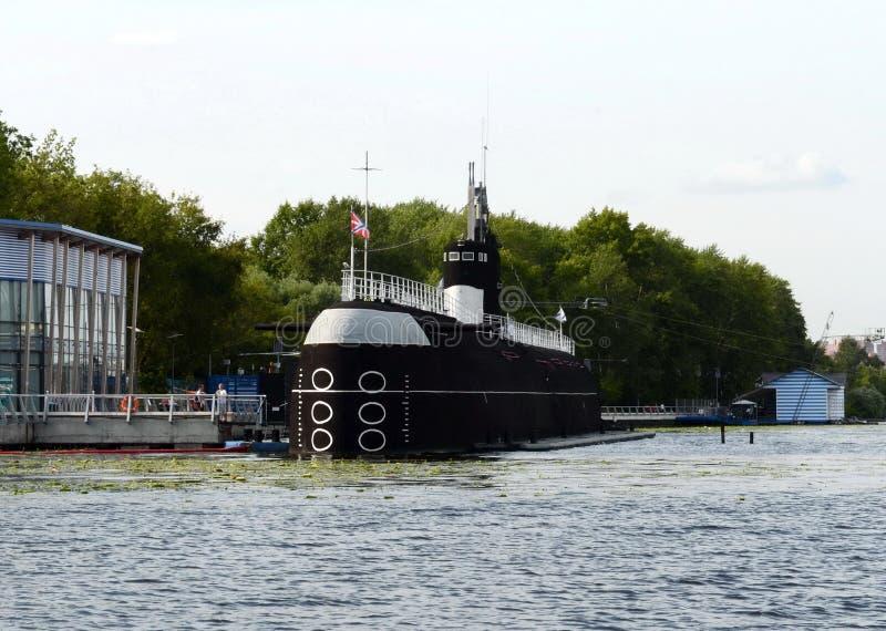 Soviet diesel-electric submarine B-396 `Novosibirsk Komsomolets` at the Khimki Reservoir in Moscow stock image