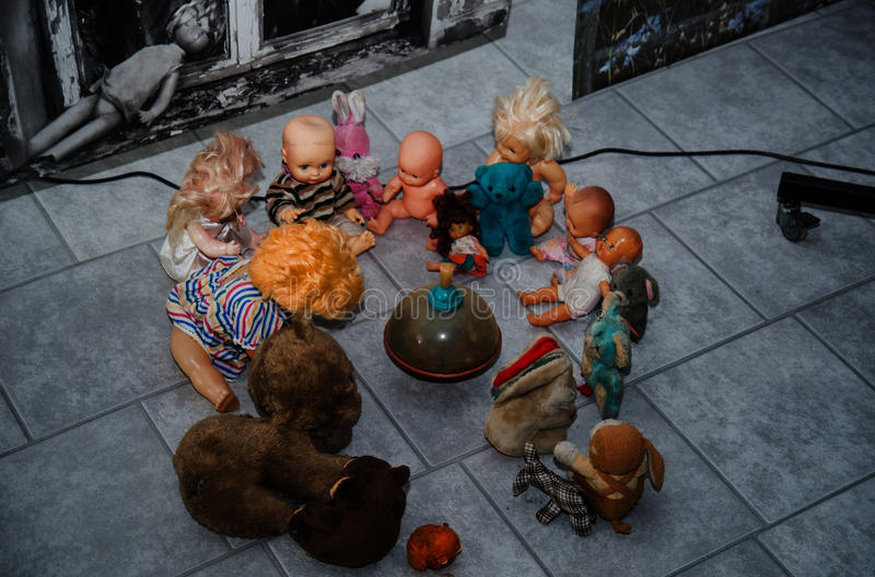 Soviet dolls toys in Chernobyl nuclear disaster area. royalty free stock photo