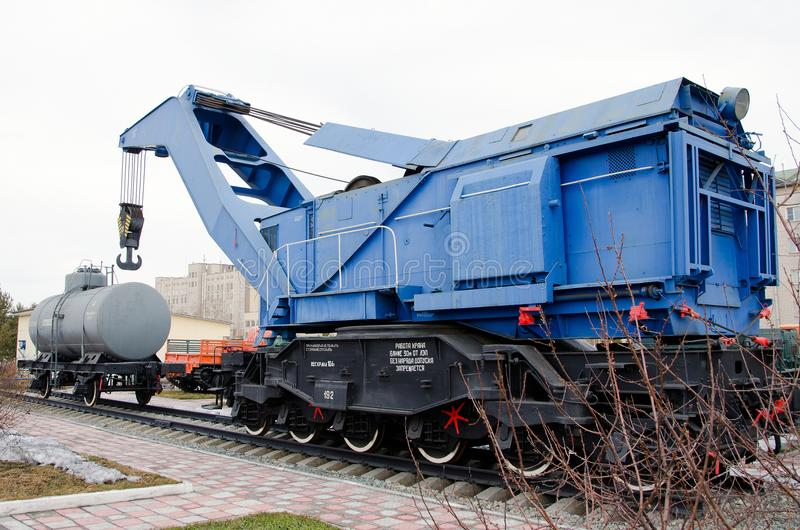 Soviet heavy railway crane. stock photography