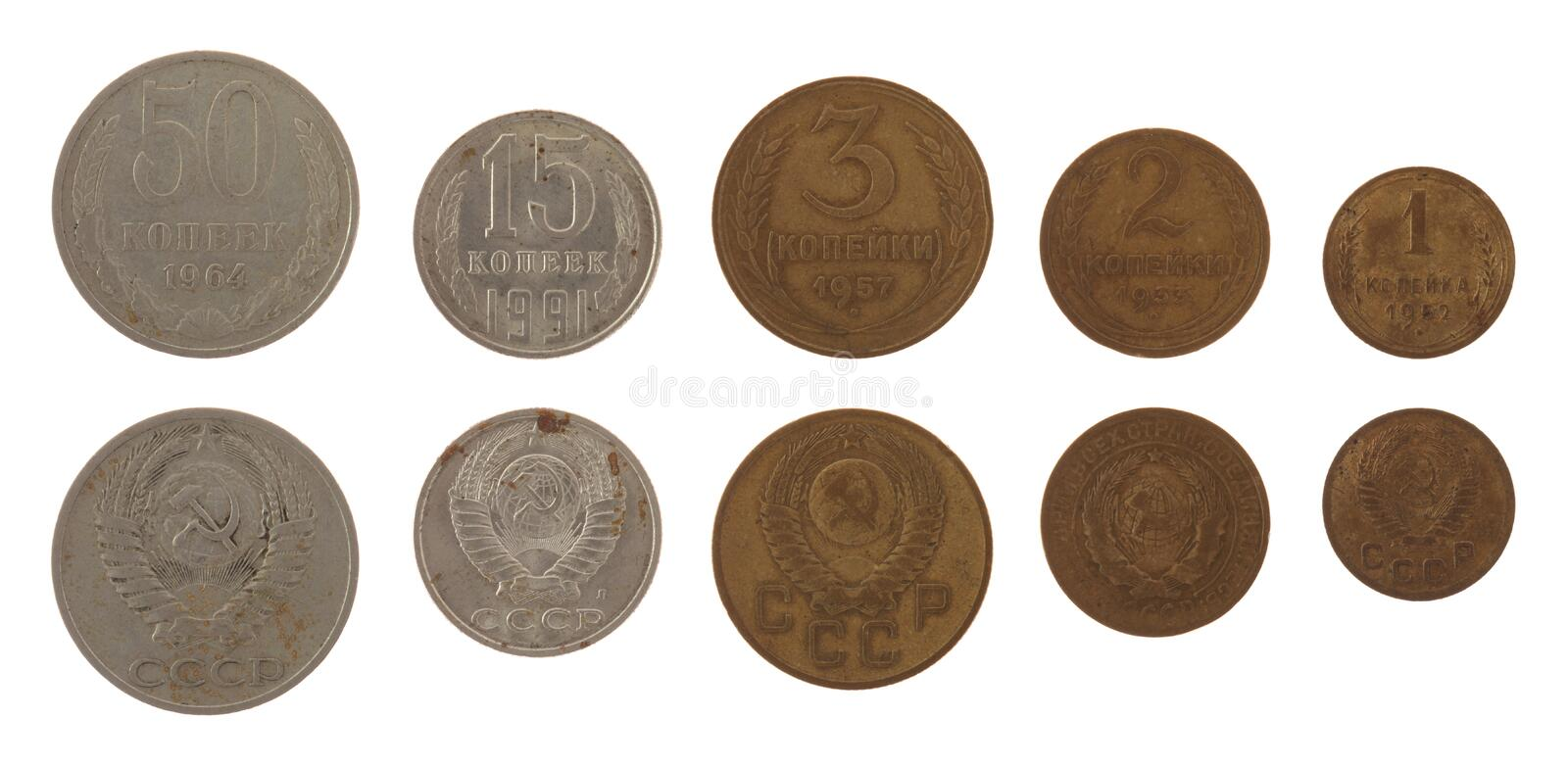 Download Soviet Kopek Coins Isolated On White Stock Image - Image of cash, coin: 26880037