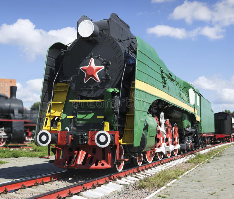 Soviet long-haul passenger locomotive 50-ies. Of the XX century royalty free stock photo