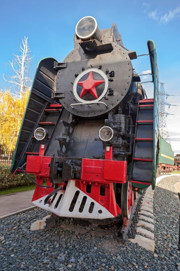 Soviet long-haul passenger locomotive. 50-ies of the XX century stock images