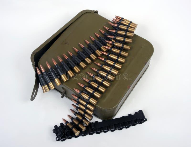 Soviet machine gun ammo. Russian machine gun belt with ammo tin stock photos