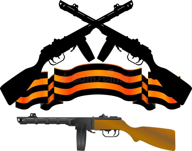 Soviet Machinegun And Georgievsky Ribbon Royalty Free Stock Photography
