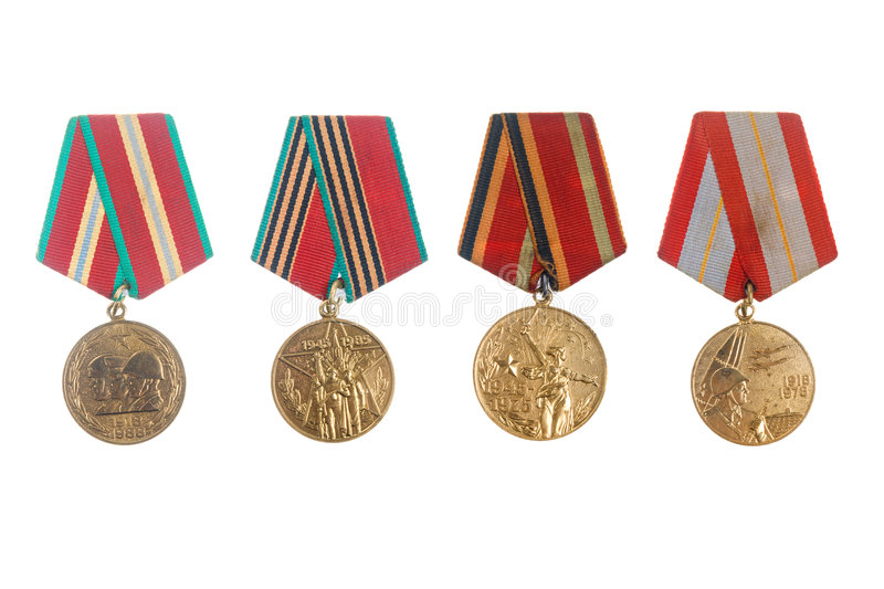 Soviet military jubilee medals royalty free stock photos