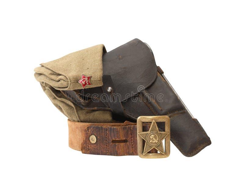 Soviet Military Officer Equipment. World War II Soviet officer equipment. Officer leather belt and garrison cap near holster stock photos