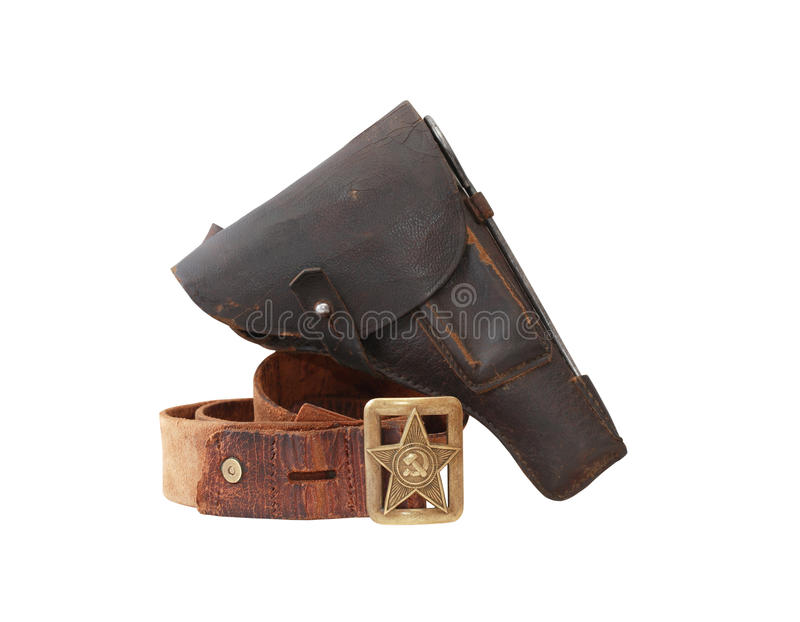 Soviet Military Officer Equipment. World War II Soviet officer equipment. Officer leather belt and holster. Isolated with clipping path royalty free stock images