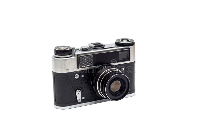 Soviet old camera with a lens. Isolate stock image