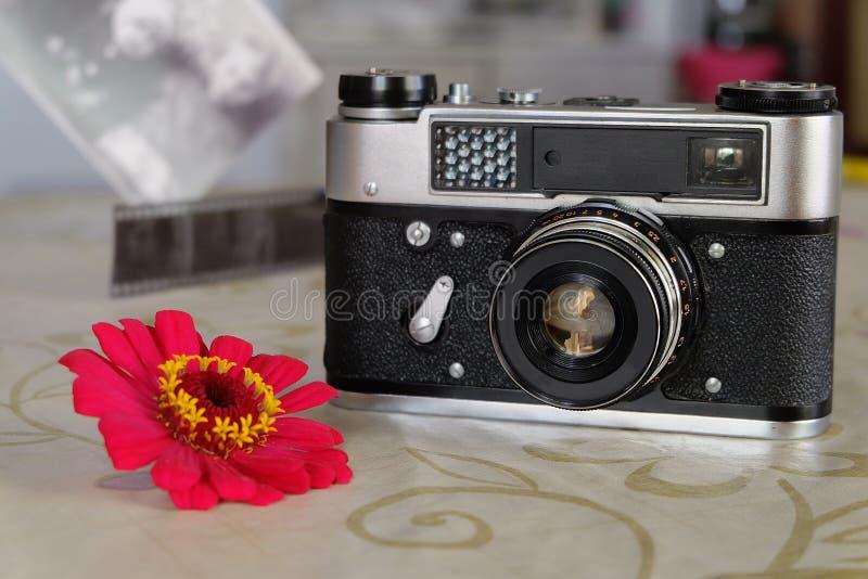 Soviet small-format rangefinder camera. Small-format rangefinder camera unreleased since 1977 in the Soviet Union stock photography