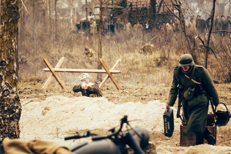Soviet soldier is fighting the German invaders. Gomrl, Belarus royalty free stock photography