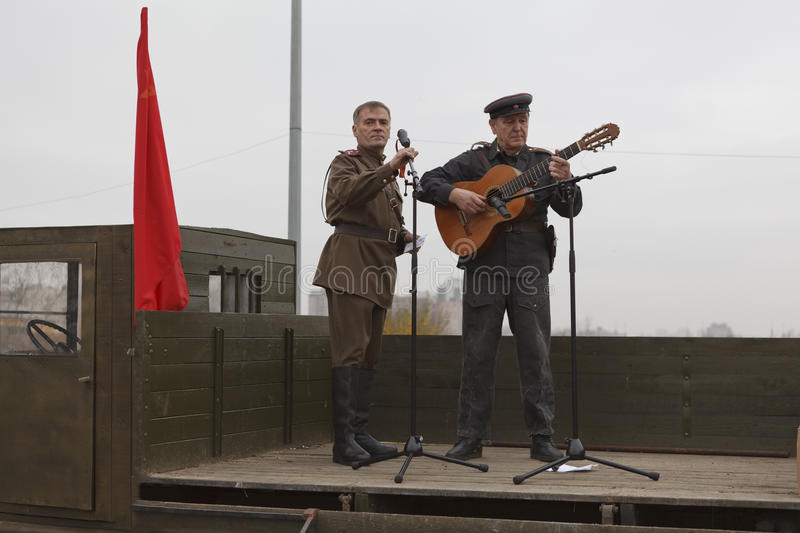 Soviet soldier singing from the lorry royalty free stock photography