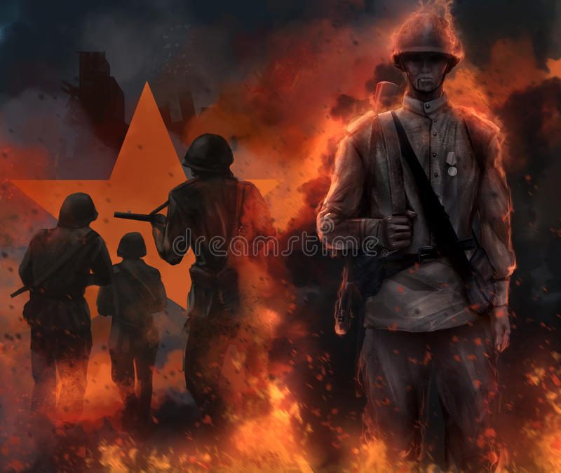 Soviet soldier standing in fire. Illustration of a mystic soviet soldier standing in fire and fog with running warriors and red star behind him vector illustration