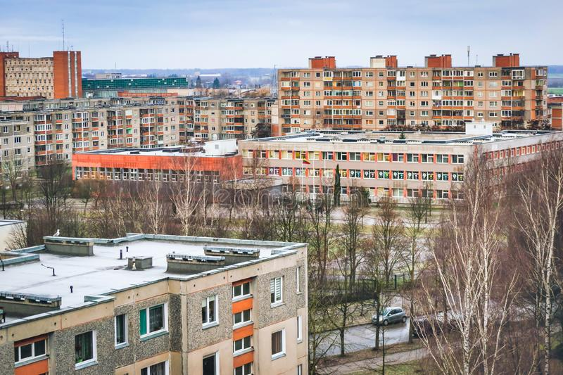 Traditional schools in Lithuania, baltic countries. Soviet style buidings in town of Siauliai, Shcool Romuva stock photo