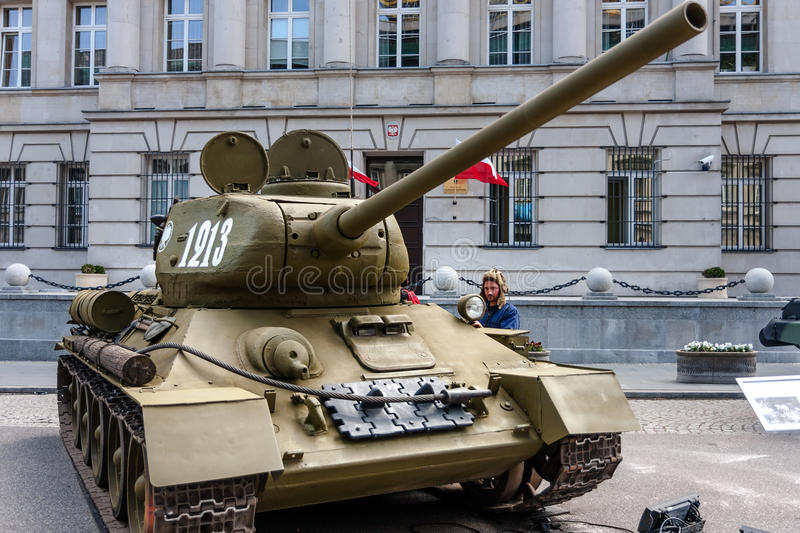 Soviet tank T-34 85. WARSAW, POLAND - MAY 08, 2015: T-34 85 Soviet tank, version with larger 85mm gun. Most-produced tank of the World War II. Public stock photo