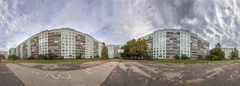 Soviet time apartment blocks district 360 degree panorama stock photography
