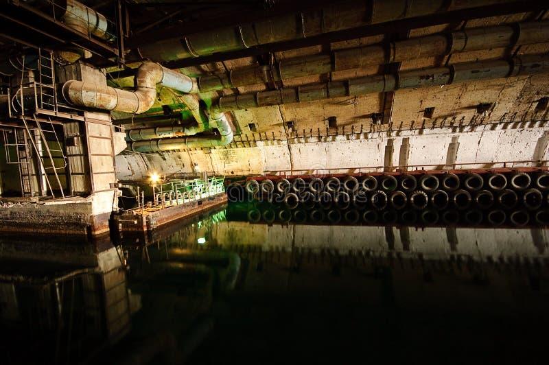 Soviet underground submarine base stock photography