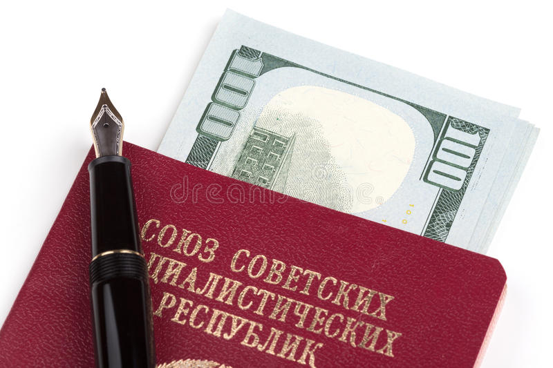 Soviet union travel passport with money. And fountain pen royalty free stock photos