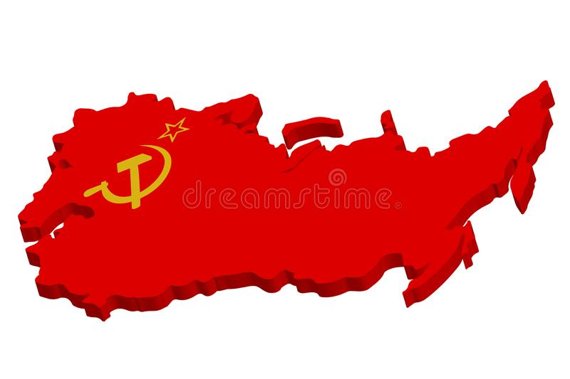 Cartina Urss.Soviet Union Ussr Map With Flag Stock Vector Illustration Of Islands Moscow 156864781