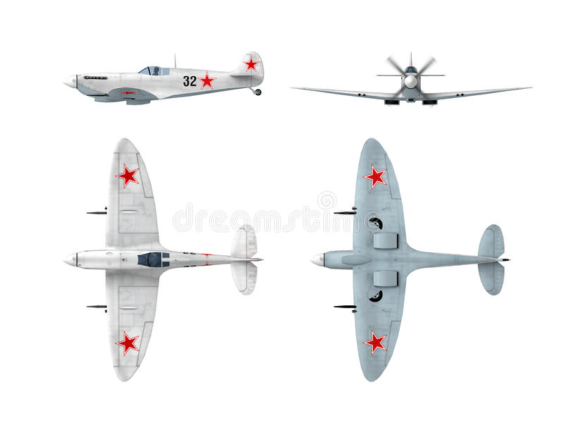 Download Soviet Winter Version Of English Spitfire Fighter Stock Illustration - Image: 14309265