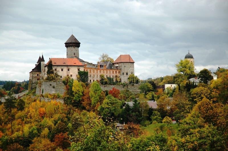 Sovinec slott i nordliga Moravia arkivfoto