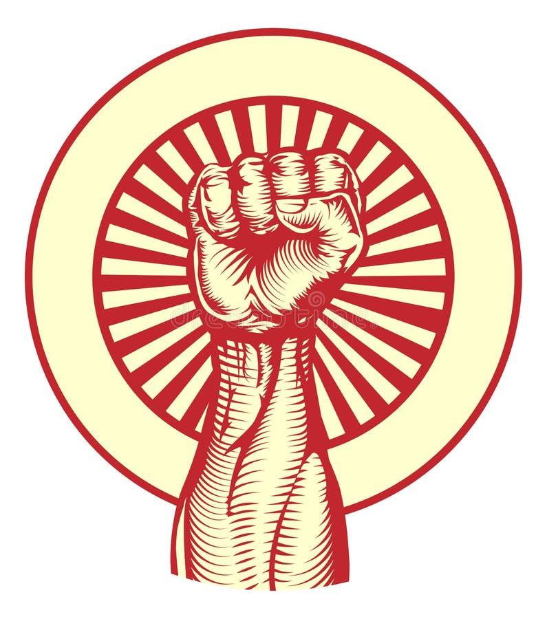 Sovjet de stijlvuist van de propagandaaffiche royalty-vrije illustratie