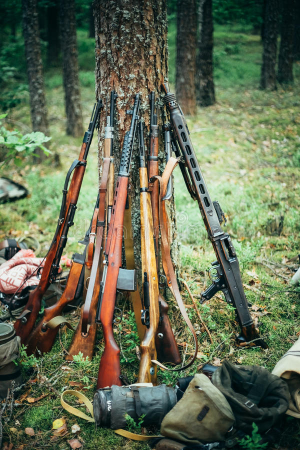 Sovjet en Duitse geweren van Wereldoorlog II - SVT 40 royalty-vrije stock fotografie