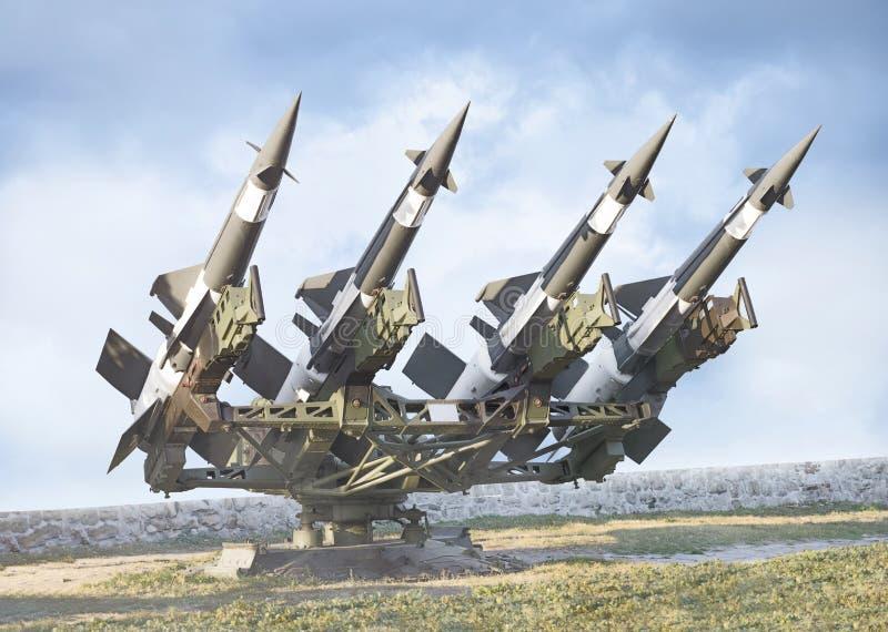 Sovjet lucht-lucht luchtafweerbatterij met 4 raketten royalty-vrije stock afbeeldingen